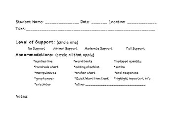 Level of Support & Accommodations Documentation Form