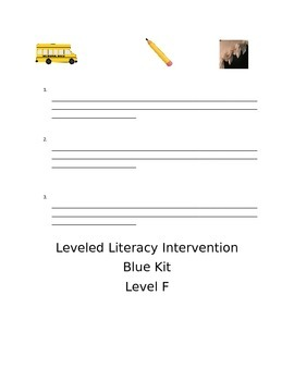 Leveld Literacy Intervention-blue Level F FREE SAMPLE