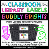 Leveled Book Bin Labels Bubbly Brights Black and Neon Clas