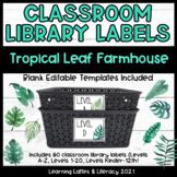 Leveled Book Bin Labels Farmhouse Tropical Botanical Leave