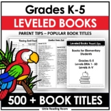 Leveled Book Lists for Elementary Readers (Teachers & Parents)