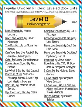 Leveled Book Lists for Elementary School (for Teachers and Parents)