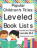 Leveled Book Lists for Elementary School (for Teachers and