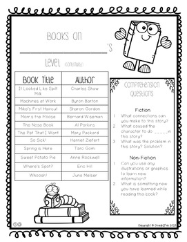 Leveled Book Lists with Comprehension Questions!