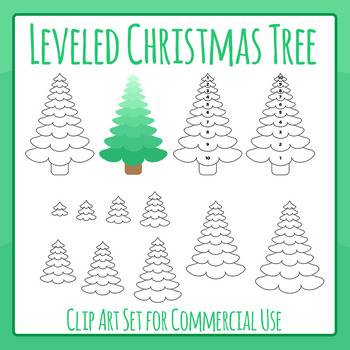 Leveled Christmas Tree - Measuring Christmas Tree Clip Art for Commercial Use