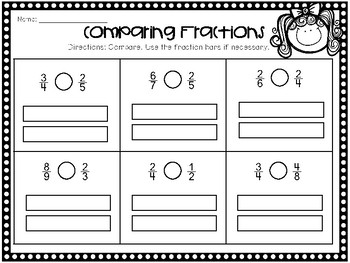 Leveled Comparing Fractions (intro) Worksheet - 3rd Grade