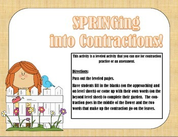 Leveled Contraction Garden Assessment/Worksheet