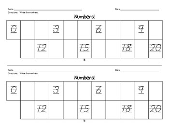 Leveled/ Differentiated Counting and Writing Numbers to 120 Common Core