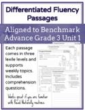 Leveled Fluency Passages for Benchmark Advance Grade 3 Unit 1 - Intervention
