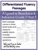 Leveled Fluency Passages for Benchmark Advance Grade 3 Unit 3 - Intervention