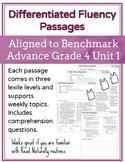 Leveled Fluency Passages for Benchmark Advance Grade 4 Unit 1 - Intervention