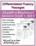 Leveled Fluency Passages for Benchmark Advance Grade 4 Unit 4 - Intervention