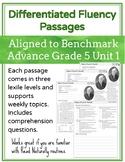 Leveled Fluency Passages for Benchmark Advance Grade 5 Unit 1 - Intervention