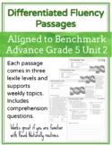 Leveled Fluency Passages for Benchmark Advance Grade 5 Unit 2 - Intervention