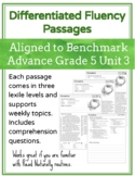 Leveled Fluency Passages for Benchmark Advance Grade 5 Unit 3 - Intervention