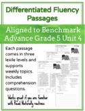 Leveled Fluency Passages for Benchmark Advance Grade 5 Unit 4 - Intervention
