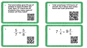 Leveled Fraction Task Cards
