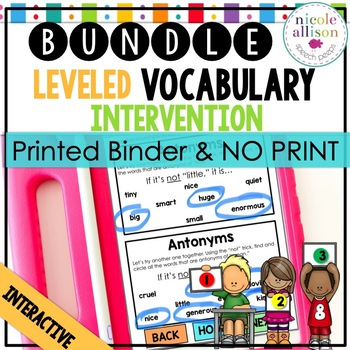 Leveled Intervention for Vocabulary (Printed and No Print) Bundle