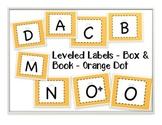 Leveled Labels - Boxes & Books Orange Dot
