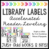 **EDITABLE** Leveled Library Labels (Accelerated Reader--AR) Brights on White