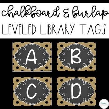 Leveled Library Labels - Chalkboard & Burlap