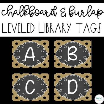 Leveled Library Labels - Chalkboard & Burlap