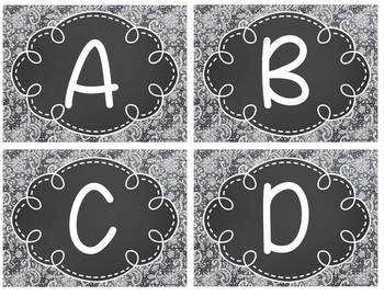 Leveled Library Labels - Chalkboard and Denim Lace