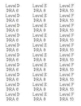 Leveled Library Labels DRA and Fountas & Pinnell