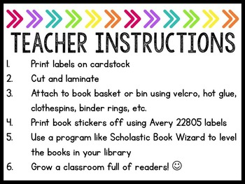 **EDITABLE** Leveled Library Labels (Guided Reading) Brights on Black