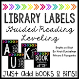 **EDITABLE** Leveled Library Labels (Guided Reading) Brights on Blacks