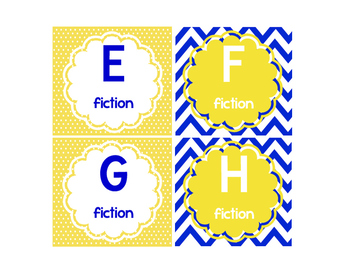 Leveled Library Labels navy, white & yellow