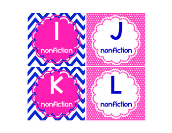 Leveled Library Labels pink and navy