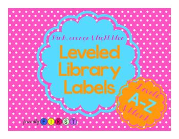 Leveled Library Labels pink, orange & light blue