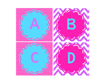 Leveled Library Labels pink, purple & light blue
