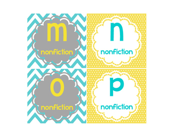Leveled Library Labels yellow and teal