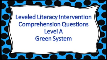 LLI Multiple Choice Comprehension Assessment Level A Green System