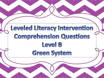LLI Multiple Choice Comprehension Assessment Level B Green System