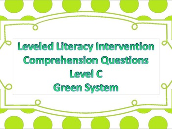 LLI Multiple Choice Comprehension Assessment Level C Green System
