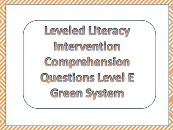 LLI Multiple Choice Comprehension Assessment Level E Green System