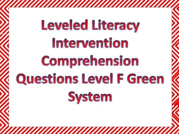 LLI Multiple Choice Comprehension Assessment Level F Green System Sample