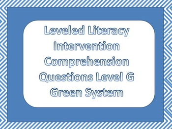 LLI Multiple Choice Comprehension Assessment Level G Green System Sample