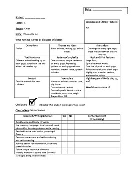 Leveled Literacy Intervention Green Kit Summary Sheets