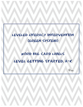 Leveled Literacy Intervention (LLI) Green- Word Card Title Page - Levels G.S.-K
