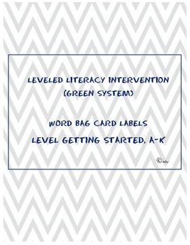 Leveled Literacy Intervention (LLI) Green- Word Card Title