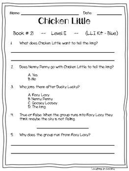 Leveled Literacy Intervention (LLI Blue)Comprehension Questions (21-40)
