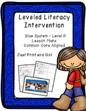 Leveled Literacy Intervention (LLI): Blue Level D - Lesson Plan Templates