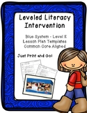 Leveled Literacy Intervention (LLI): Blue Level E - Lesson Plan Templates