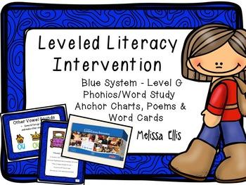 Leveled Literacy Intervention (LLI): Blue Level G: Anchor Charts & Word Cards