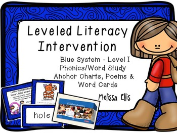 Leveled Literacy Intervention (LLI): Blue Level I:  Anchor Charts and Word Cards