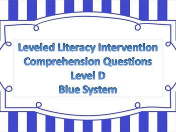 LLI Multiple Choice Short Answer Comprehension Skills Assessment Level D Blue